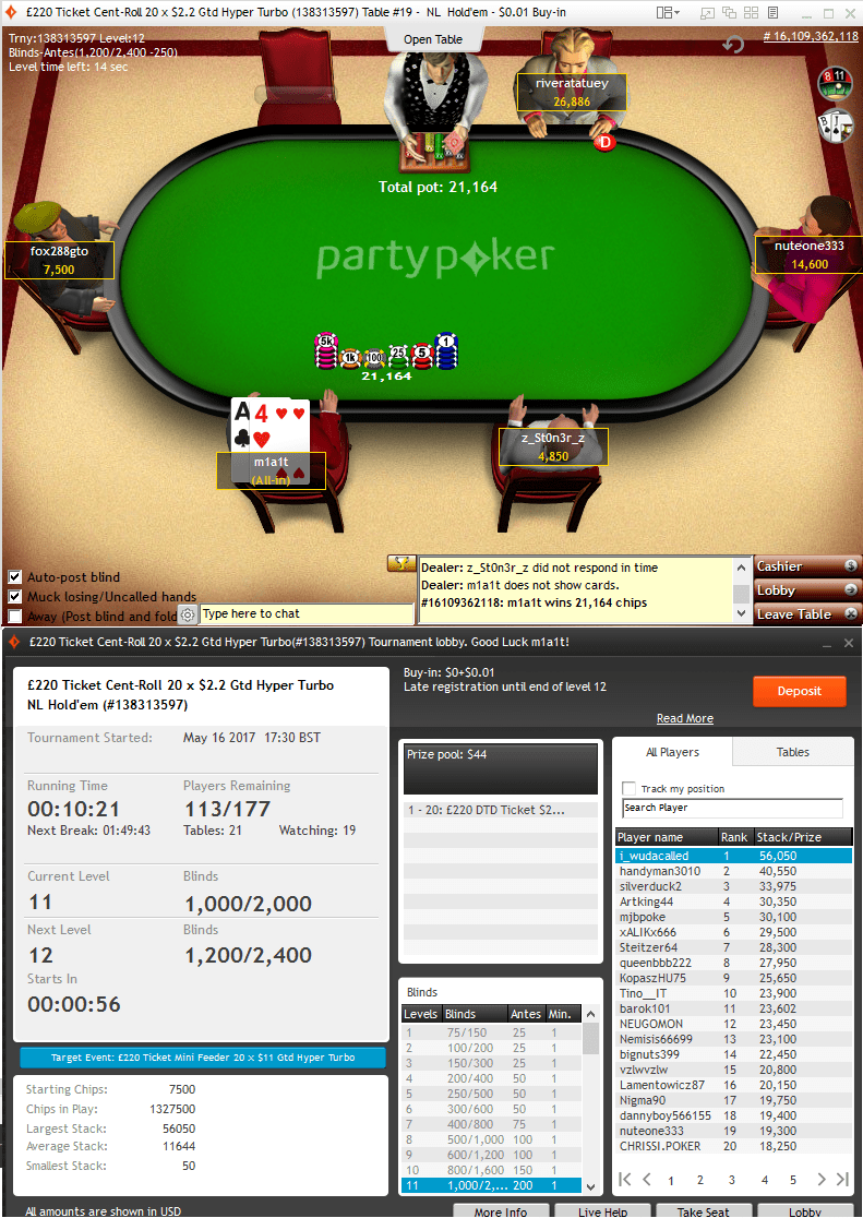 partypoker 1cent 6way hyper turbo