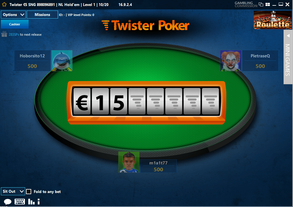 twister poker pre game prize spin