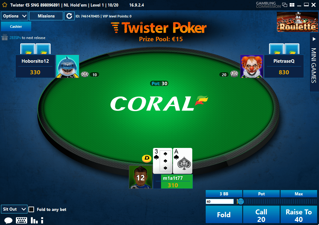 twister poker gui coral